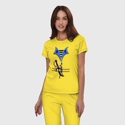 Пижама хлопковая женская Форма пирата цвета желтый — фото 2