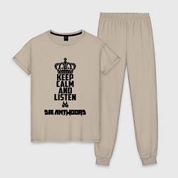 Пижама хлопковая женская Keep Calm & Listen Die Antwoord цвета миндальный — фото 1