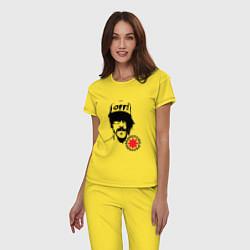 Пижама хлопковая женская Red Hot Chili Peppers: Off цвета желтый — фото 2