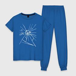 Пижама хлопковая женская Mirror Smile цвета синий — фото 1
