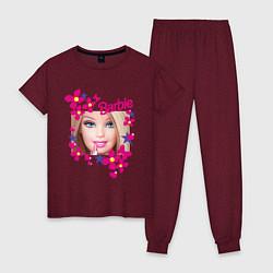 Пижама хлопковая женская Барби красавица цвета меланж-бордовый — фото 1