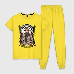 Пижама хлопковая женская Достоевский Федор Михайлович цвета желтый — фото 1