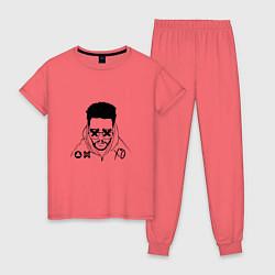 Пижама хлопковая женская The Weeknd цвета коралловый — фото 1
