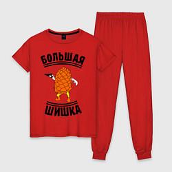 Пижама хлопковая женская Большая шишка цвета красный — фото 1
