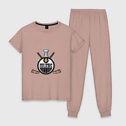 Пижама хлопковая женская Edmonton Oilers Hockey цвета пыльно-розовый — фото 1