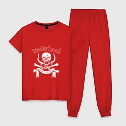 Пижама хлопковая женская Motrhead цвета красный — фото 1