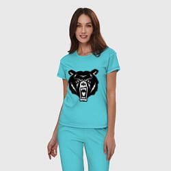 Пижама хлопковая женская Ярость медведя цвета бирюзовый — фото 2