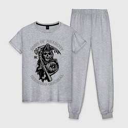 Пижама хлопковая женская Sons of Anarchy: Redwood Original цвета меланж — фото 1