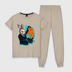 Пижама хлопковая женская Rabbit magician цвета миндальный — фото 1