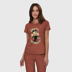 Пижама хлопковая женская Bendy: Keep Smiling цвета кирпичный — фото 2