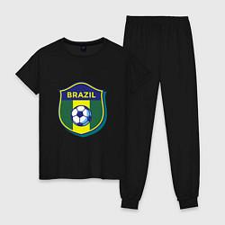 Пижама хлопковая женская Brazil Football цвета черный — фото 1