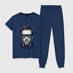 Пижама хлопковая женская MD House Style цвета тёмно-синий — фото 1