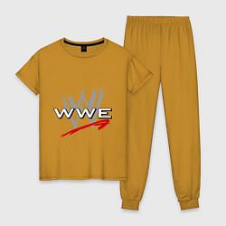 Пижама хлопковая женская WWE Fight цвета горчичный — фото 1