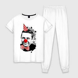 Пижама хлопковая женская Евгений Петросян клоун цвета белый — фото 1