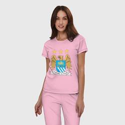 Пижама хлопковая женская Manchester City FC цвета светло-розовый — фото 2