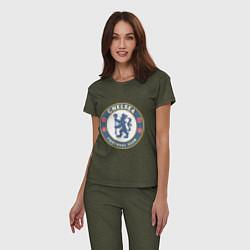 Пижама хлопковая женская Chelsea FC цвета меланж-хаки — фото 2