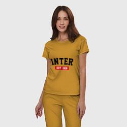 Пижама хлопковая женская FC Inter Est. 1908 цвета горчичный — фото 2
