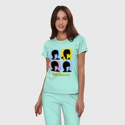 Пижама хлопковая женская The Beatles: pop-art цвета мятный — фото 2