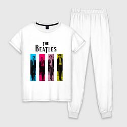 Пижама хлопковая женская Walking Beatles цвета белый — фото 1