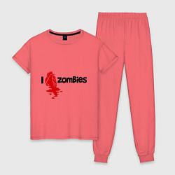 Пижама хлопковая женская I love zombies цвета коралловый — фото 1