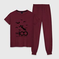 Пижама хлопковая женская The 100 цвета меланж-бордовый — фото 1