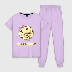 Пижама хлопковая женская Cake: Omnomnom! цвета лаванда — фото 1