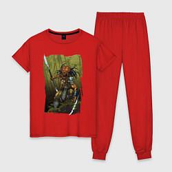 Пижама хлопковая женская Ярость хищника цвета красный — фото 1