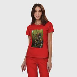 Пижама хлопковая женская Ярость хищника цвета красный — фото 2