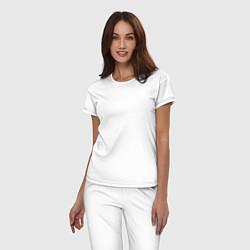 Пижама хлопковая женская Beautiful calligraphy цвета белый — фото 2