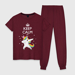 Пижама хлопковая женская Keep Calm & Dab Unicorn цвета меланж-бордовый — фото 1