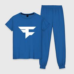 Пижама хлопковая женская FAZE Symbol цвета синий — фото 1