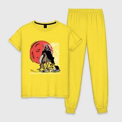 Пижама хлопковая женская Темный всадник цвета желтый — фото 1