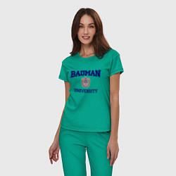 Пижама хлопковая женская BAUMAN University цвета зеленый — фото 2