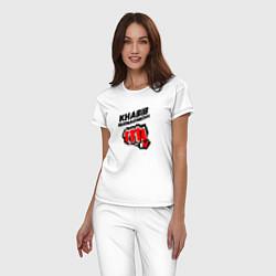 Пижама хлопковая женская Khabib Fighter цвета белый — фото 2