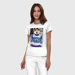 Пижама хлопковая женская Хаски в свитере цвета белый — фото 2