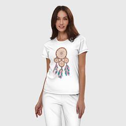 Пижама хлопковая женская Ловец снов цвета белый — фото 2