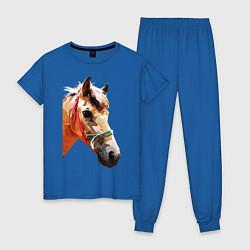 Пижама хлопковая женская Лошадь цвета синий — фото 1