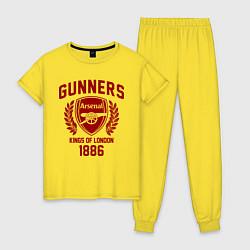 Пижама хлопковая женская Arsenal: Kings of London цвета желтый — фото 1
