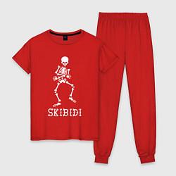 Пижама хлопковая женская Little Big: Skibidi цвета красный — фото 1