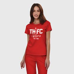 Пижама хлопковая женская THFC Est 1882 цвета красный — фото 2