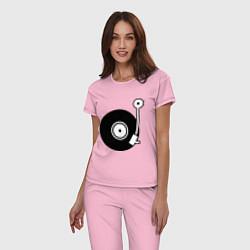 Пижама хлопковая женская Vinyl Mix цвета светло-розовый — фото 2