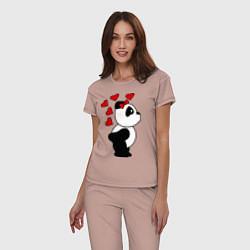 Пижама хлопковая женская Поцелуй панды: для нее цвета пыльно-розовый — фото 2