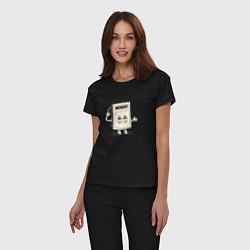 Пижама хлопковая женская Monday цвета черный — фото 2
