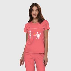 Пижама хлопковая женская Pornhub цвета коралловый — фото 2
