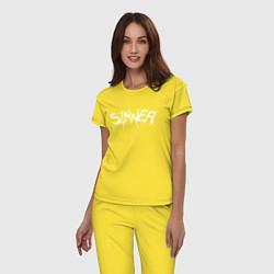 Пижама хлопковая женская SINNER цвета желтый — фото 2