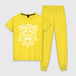 Пижама хлопковая женская Miss May I: Angry Lion цвета желтый — фото 1