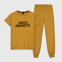 Пижама хлопковая женская Amon Amarth цвета горчичный — фото 1