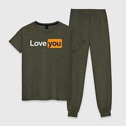 Пижама хлопковая женская PornHub: Love You цвета меланж-хаки — фото 1