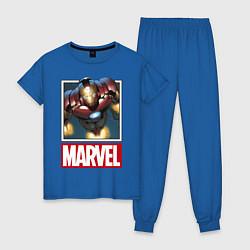 Пижама хлопковая женская Iron Man: Mark III цвета синий — фото 1