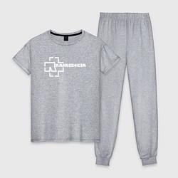 Пижама хлопковая женская Rammstein цвета меланж — фото 1